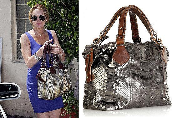 Found! Lindsay Lohan's Metallic Python Bag