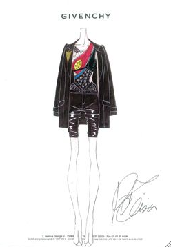 A sketch of Givenchy's archery outfit.