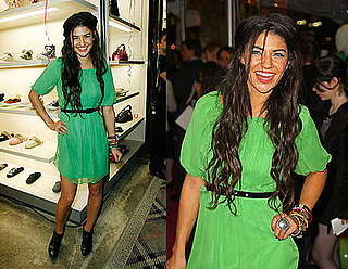 Gossip Girl Actress Jessica Szohr Wears a Green Dress to Juicy Couture Boutique Opening on Fifth Ave in NYC