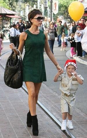 Victoria Beckham Wearing Green Suede Dress In LA
