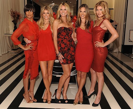 Heidi Klum and Victoria's Secret Angels Attend Grand Opening of Victoria's Secret Lexington Avenue Flagship Store in Red Dresses