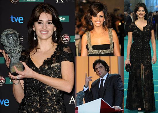 Photos of Penelope Cruz, Monica Cruz, Benicio Del Toro, and Paz Vega at the 2009 Goya Cinema Awards