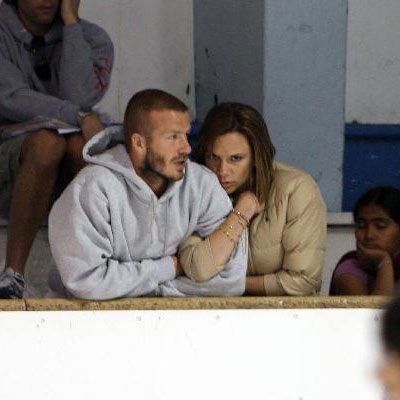 Victoria Beckham and David Beckham Watch Their Sons Ice-skate