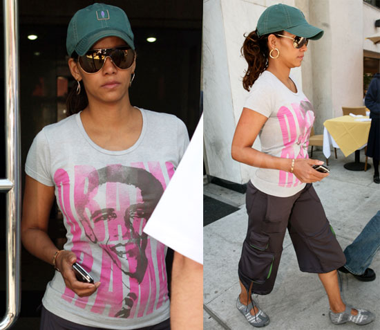Photos of Halle Berry Wearing an Obama T-shirt
