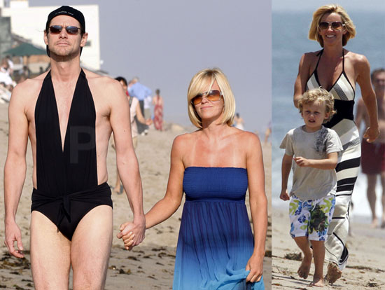 Photos of Jim Carrey and Jenny McCarthy Wearing The Same Bathing Suit 4th of July in Malibu