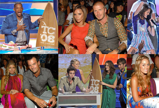 Photos Of the Teen Choice Awards with Miley Cyrus, Will Smith, Lauren Conrad, David Beckham, Zac Efron