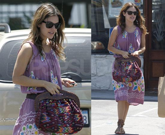 Photos of Rachel Bilson in Gladiator Sandals and a Purple Dress in LA