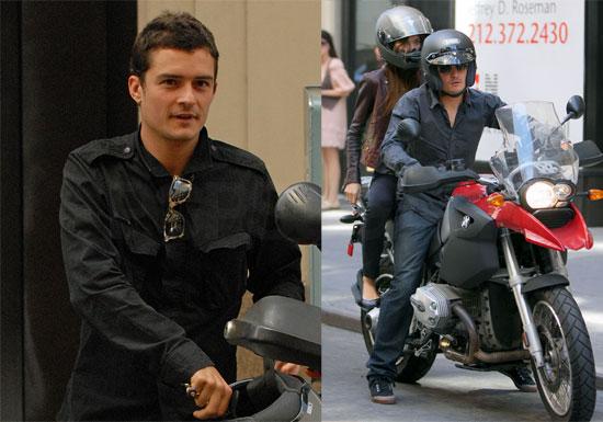 Photos of Orlando Bloom and Miranda Kerr on Motorcycle in New York City