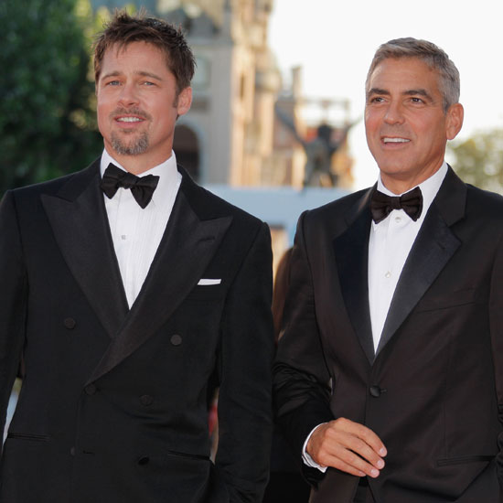 Photo of Brad Pitt and George Clooney At Burn After Reading Premiere at Venice Film Festival