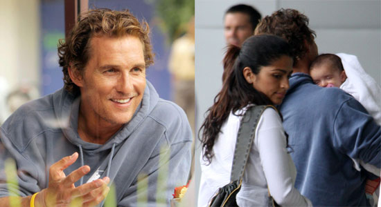 Levi McConaughey Gets Some Shut Eye on Daddy's Shoulder