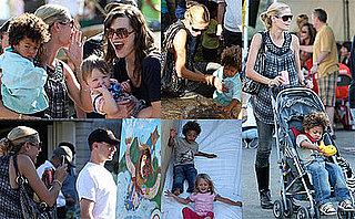 Photos of Heidi Klum, Leni Klum, Henry Samuel, Johan Samuel, Milla Jovovich, Ever Anderson at the Calabasas Pumpkin Festival