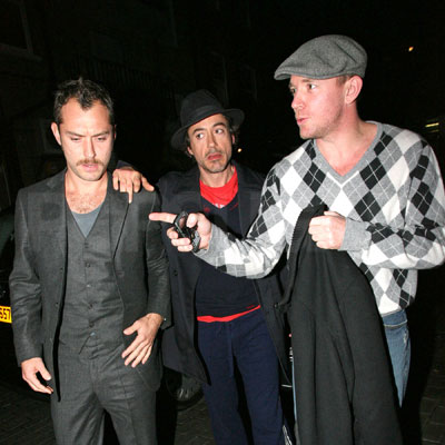 Guy Ritchie, Robert Downey Jr and Jude Law Out in London