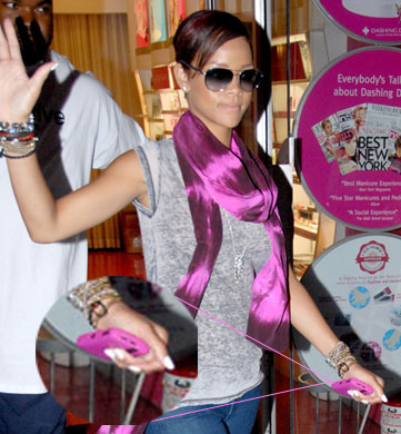 Rihanna Matches Her BlackBerry Gel Case to Her Pink Scarf