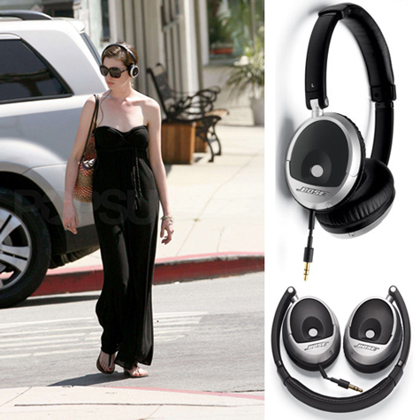 Anne Hathaway Wears Bose On-Ear Headphones