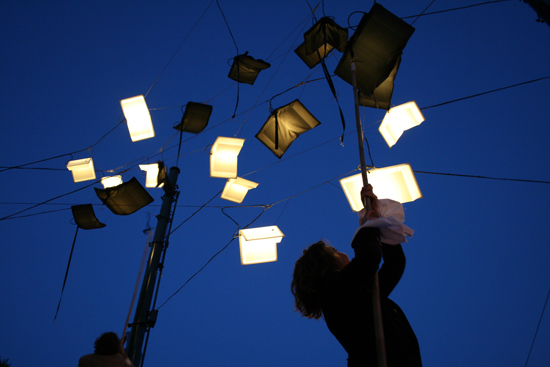 """Language of the Birds Art Installation in San Francisco's North Beach Features """"Flying"""" LED-Lit Books"""