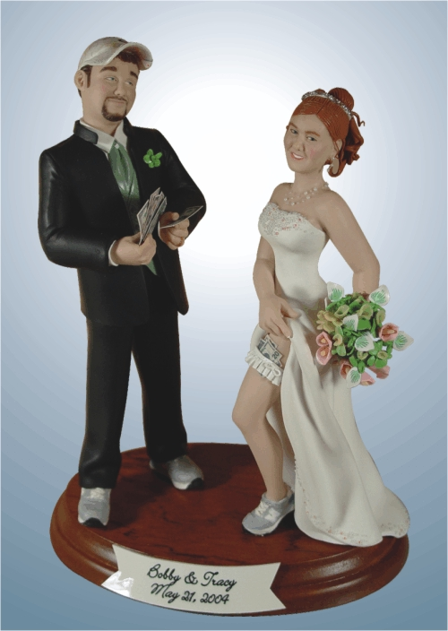 While I think custom cake toppers are a neat idea, I highly recommend thinking twice about what you have done. While this may have fit Bobby and Tracy's personalities well, I can't imagine what my mom would say over this cake topper.