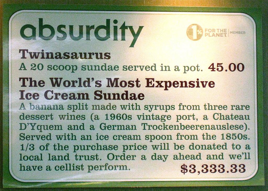 Ice Cream Sundaes Menu $60,000 Ice Cream Sundae