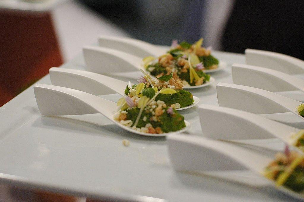 Jeremy Fox's pea, mint, white chocolate, and macadamia nut concoction,