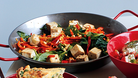 Fast & Easy Dinner: Spicy Tofu With Red Bell Peppers