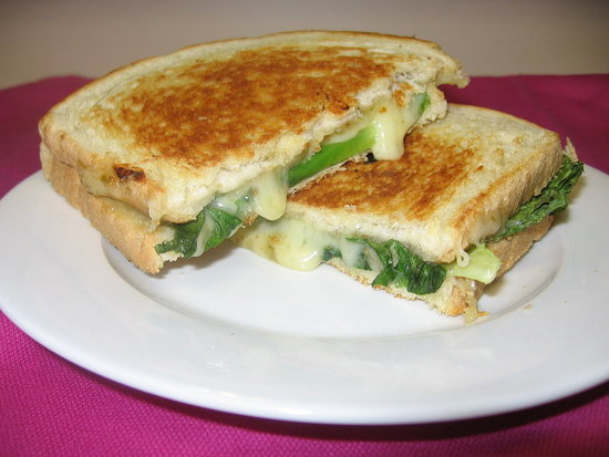 Grilled Cheese With Onion Jam, Talleggio, and Escarole