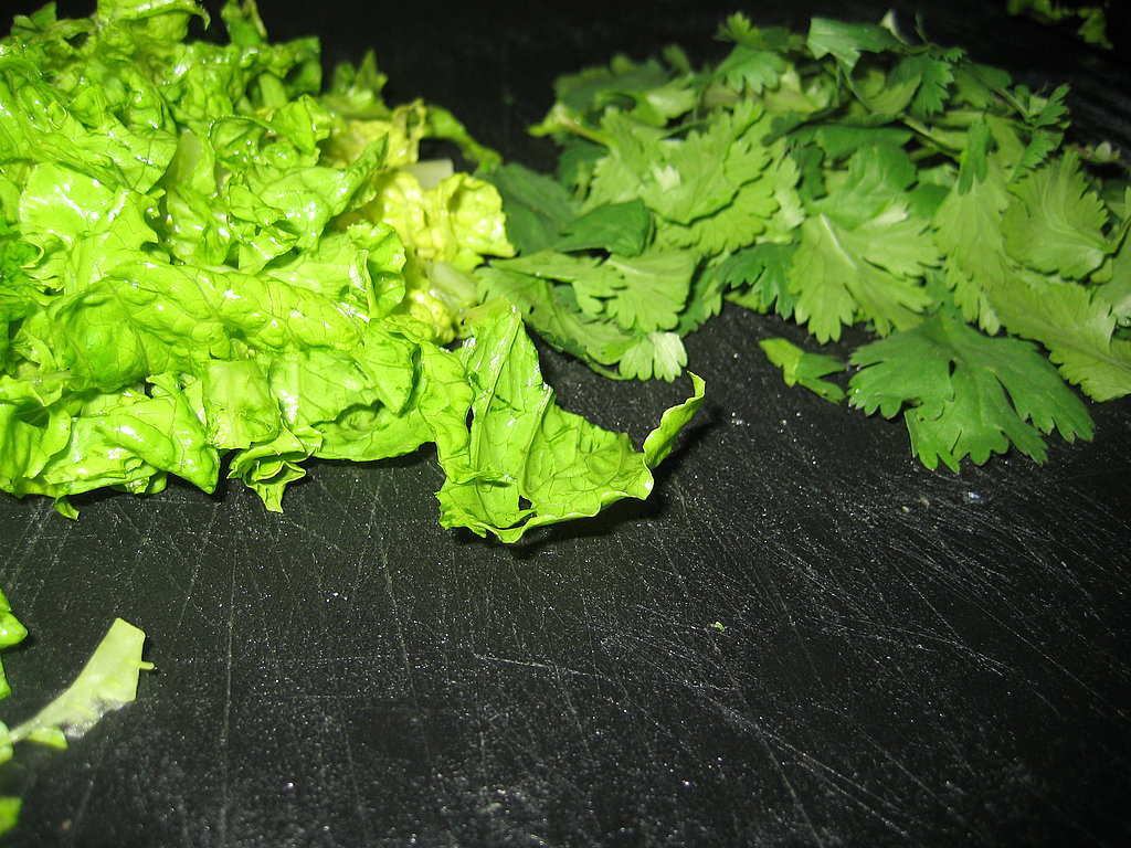 Lettuce and cilantro await tossing.