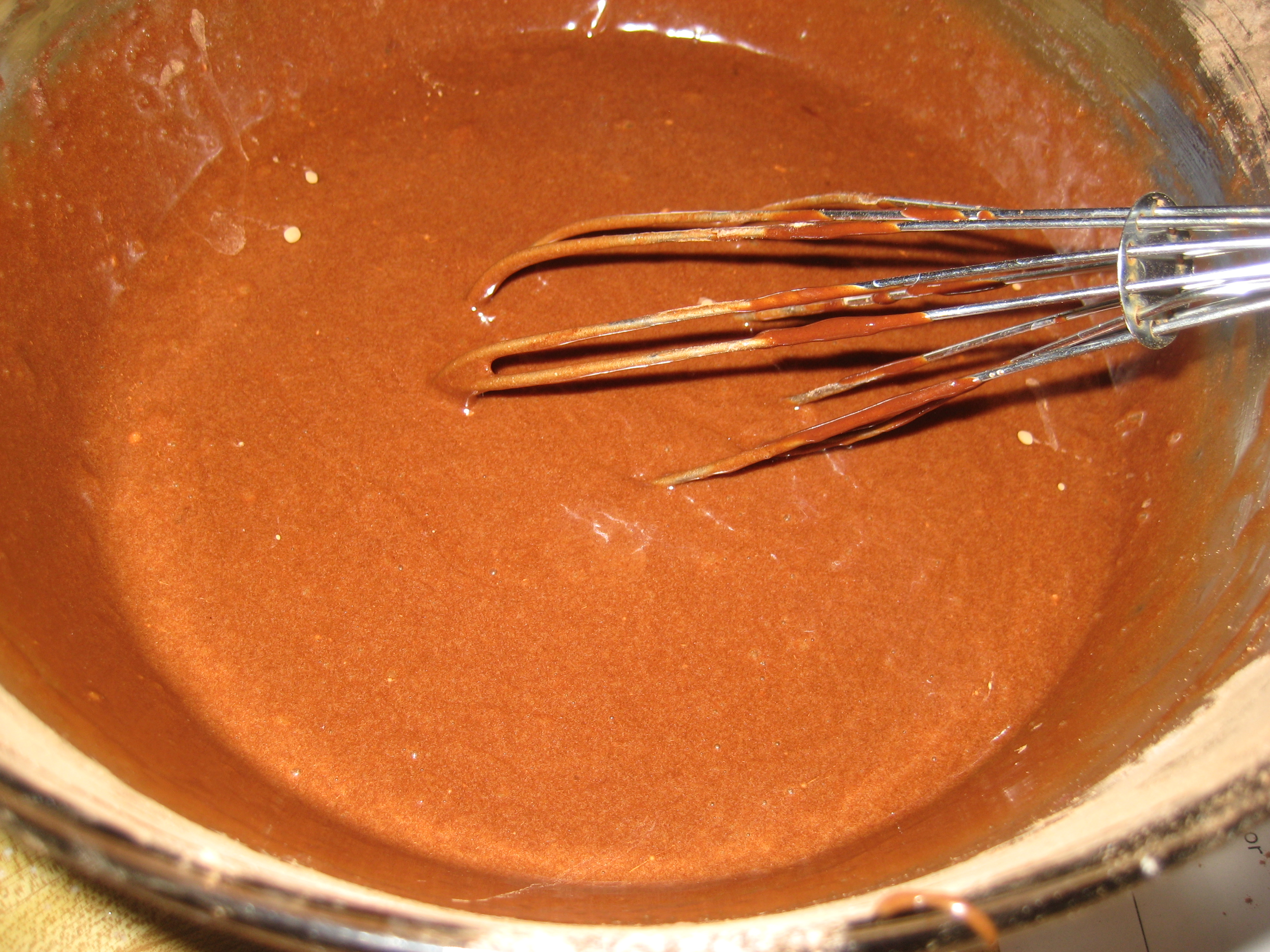 Whisking in the chocolate.