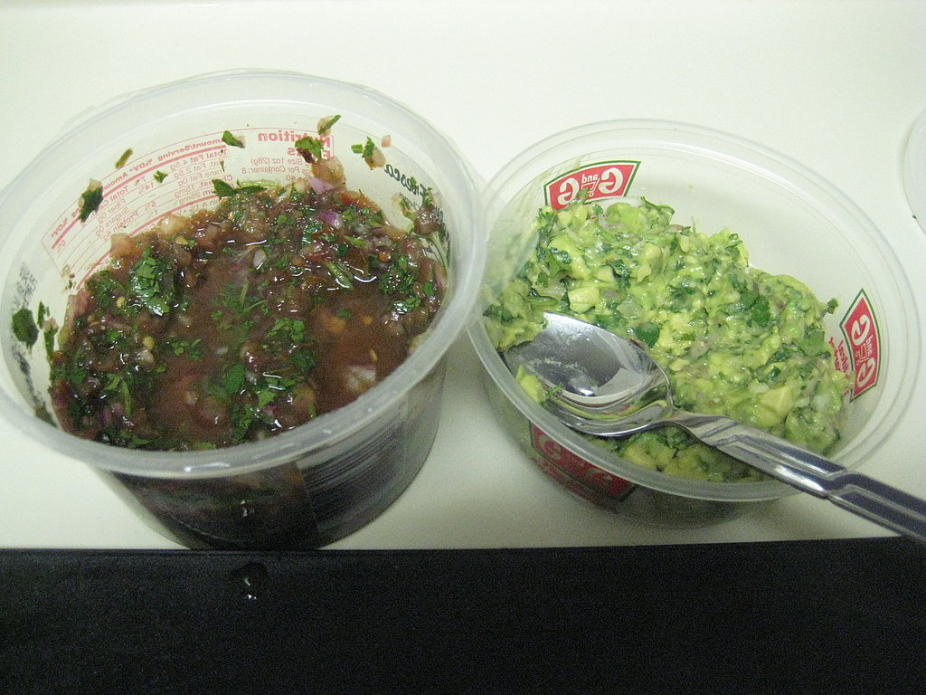 The two salsas are now chilled.