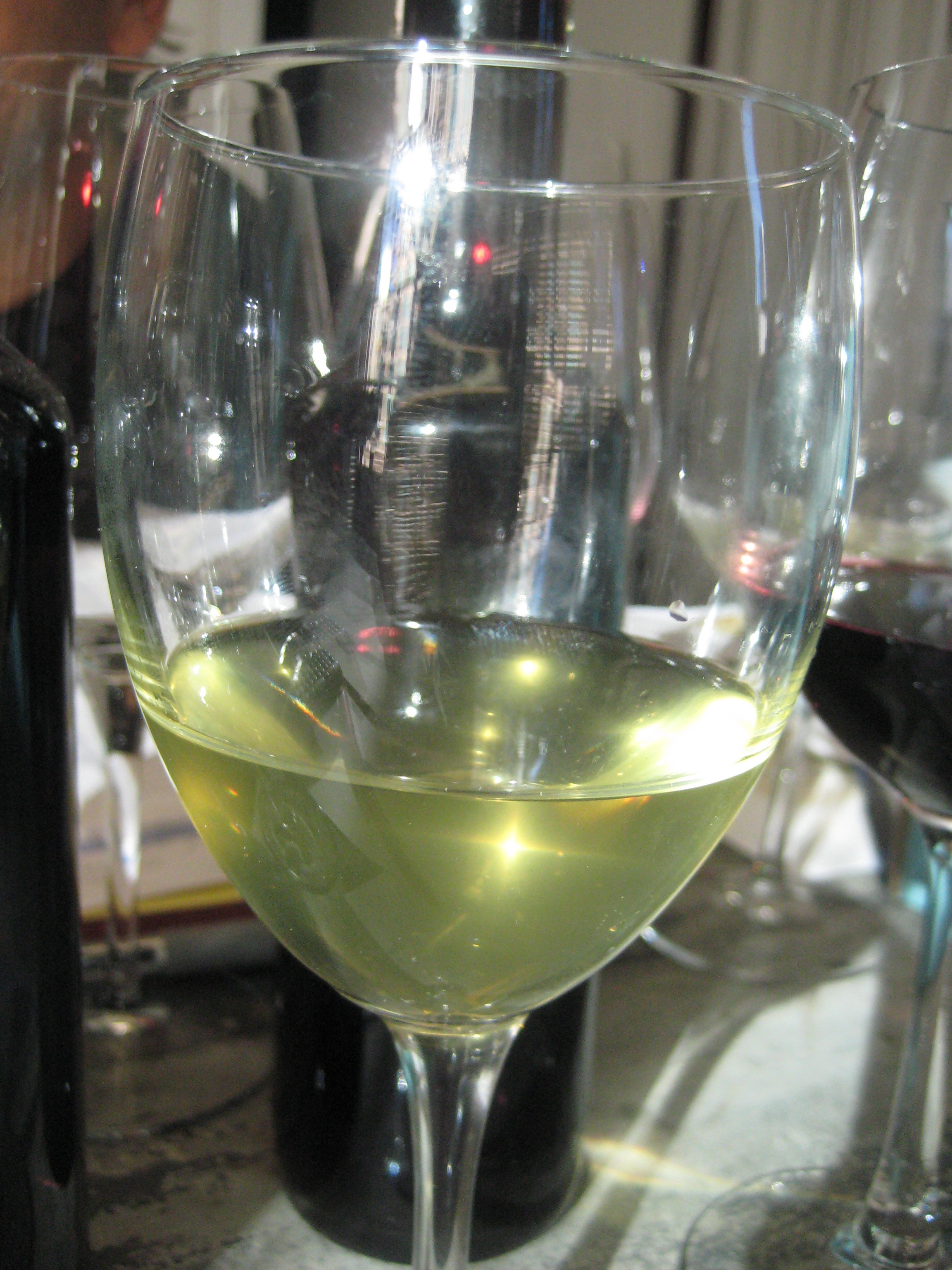 The unfinished Chardonnay resembles extra virgin olive oil.