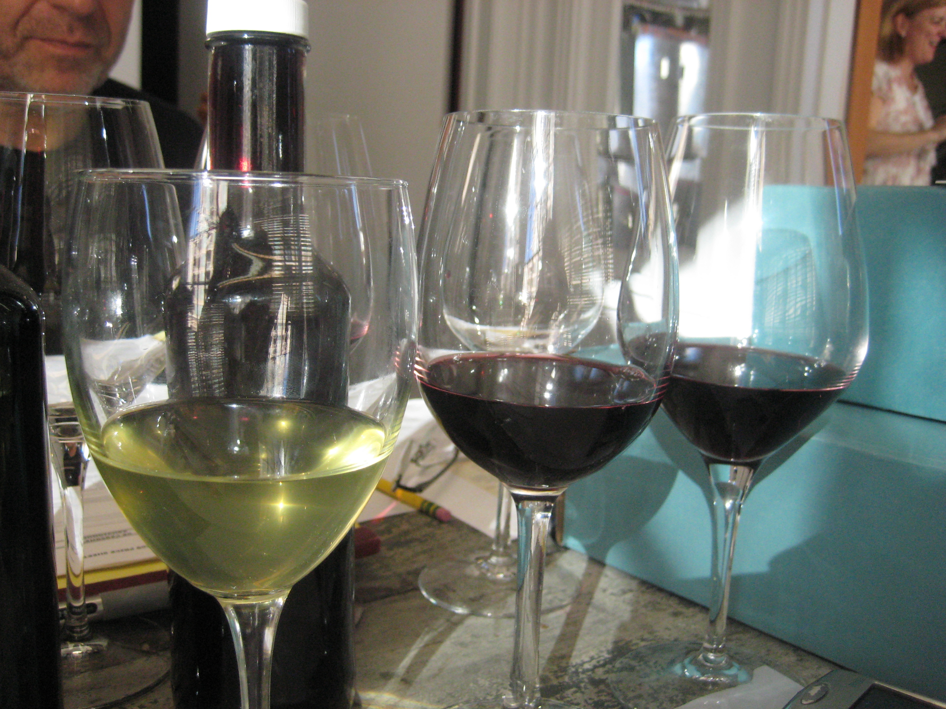 Wine lined up for tasting.