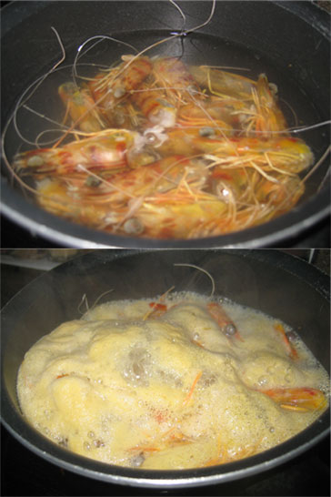While the sofrito cooks, make a caldo, or fish broth. Cover shrimp heads with water, bring to a boil, and simmer.
