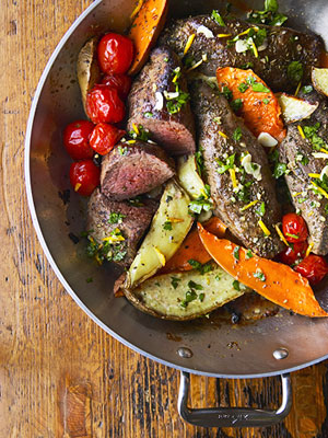 Fast & Easy Dinner: Beef and Sweet Potato Pan Roast