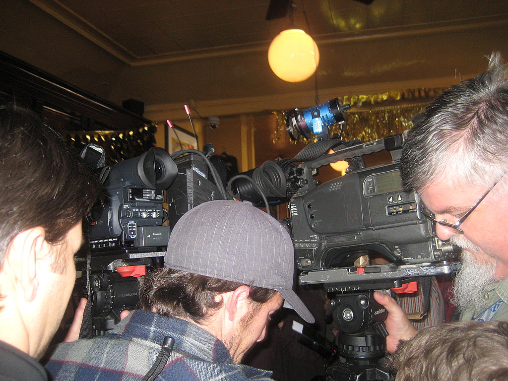 TV crews on hand to capture history.