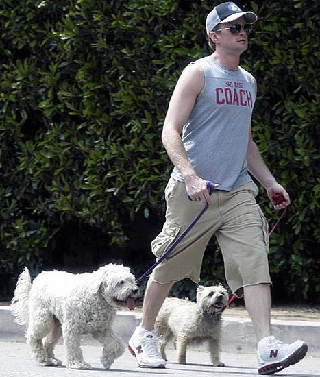 Photo of Neil Patrick Harris & his  Dog Fred & Watson