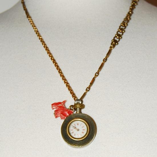 Lulu Frost Brass Victorian Clock Charm Necklace