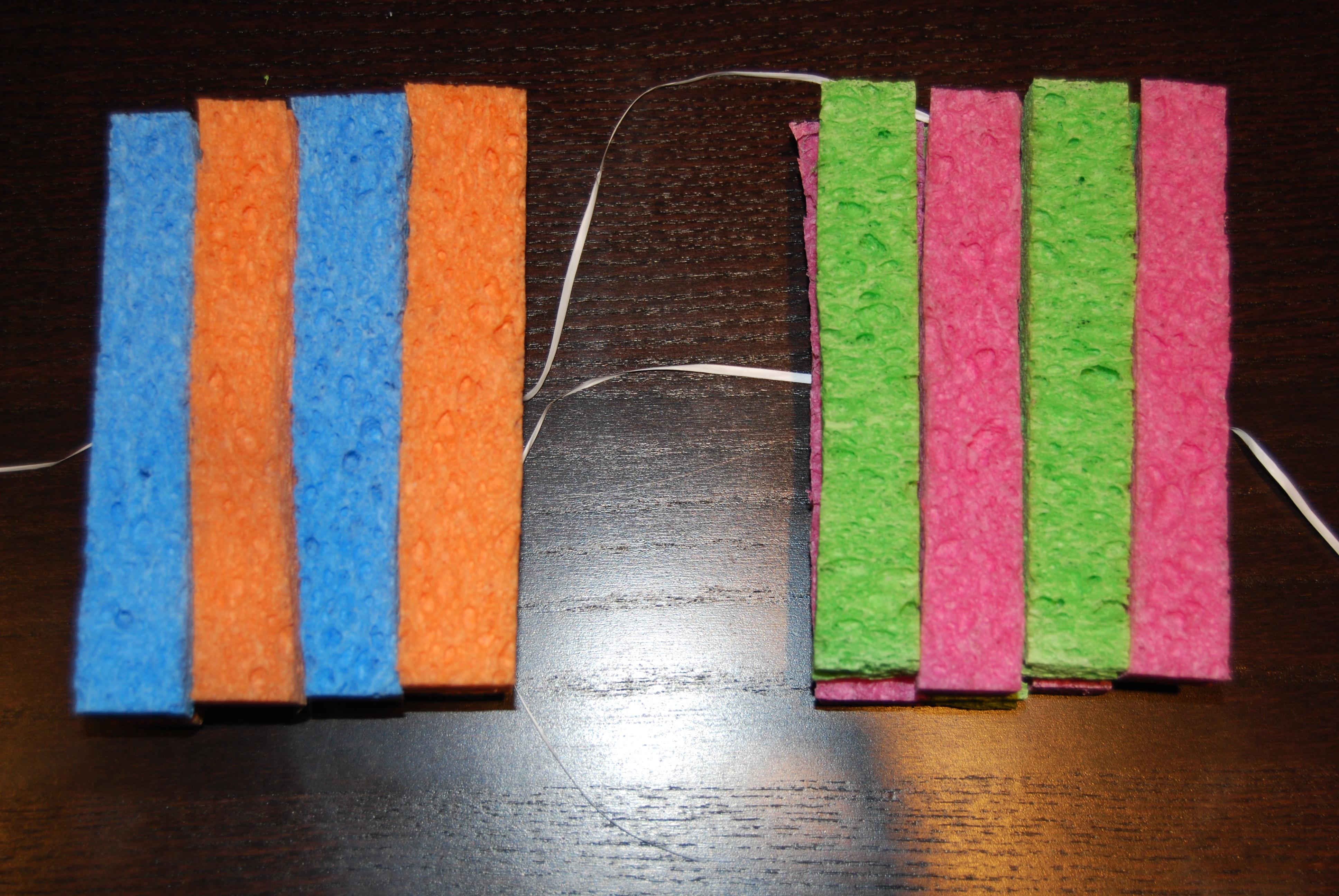 Stacks of eight sponge pieces