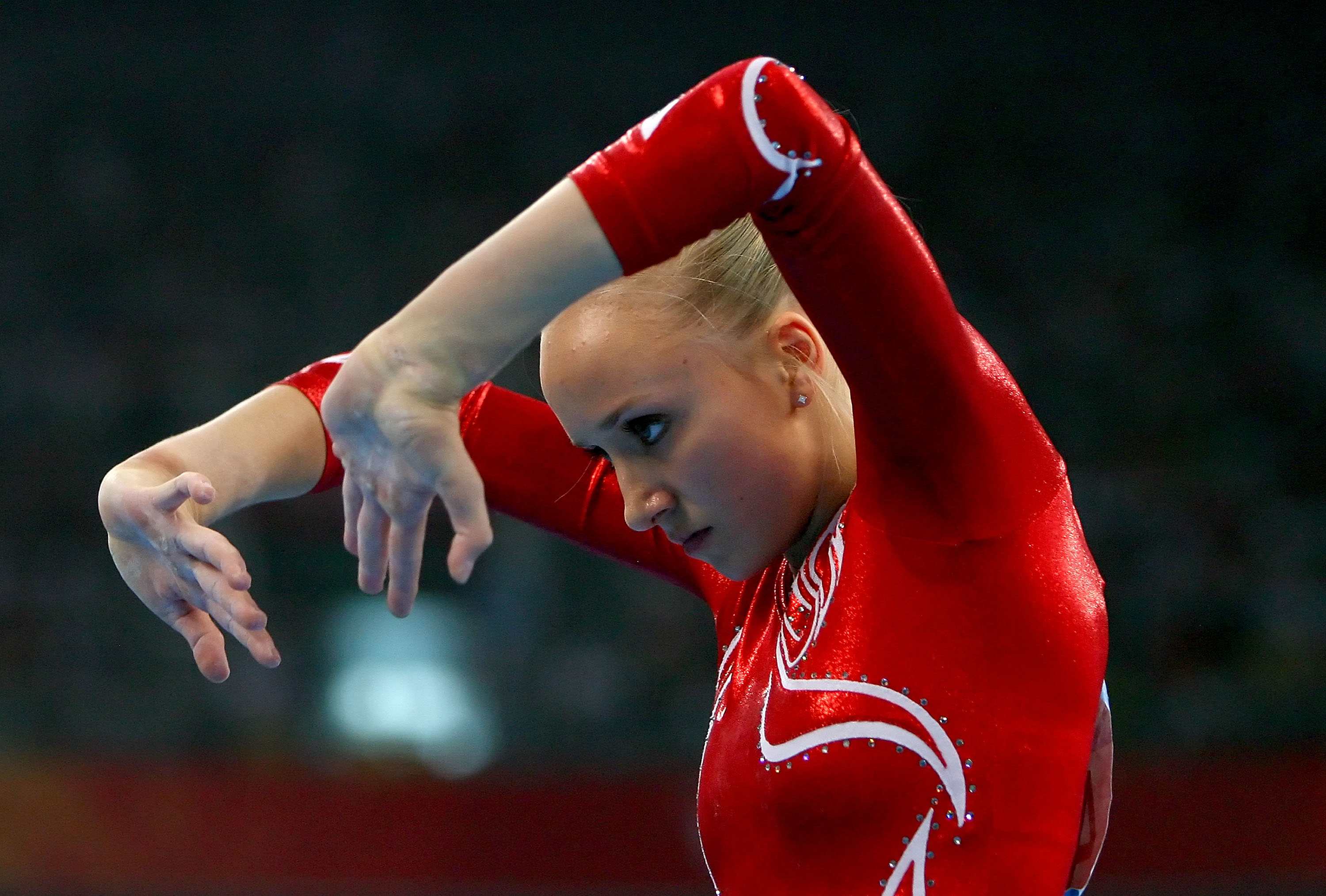 Bridget Sloan of the United States competes in the floor exercise.