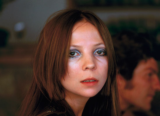 Blue eye makeup in 1968.<br />