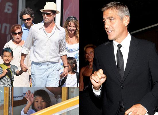 Photos Of Brad Pitt, Pax Jolie-Pitt, Maddox Jolie-Pitt and George Clooney At The 2008 Venice Film Festival