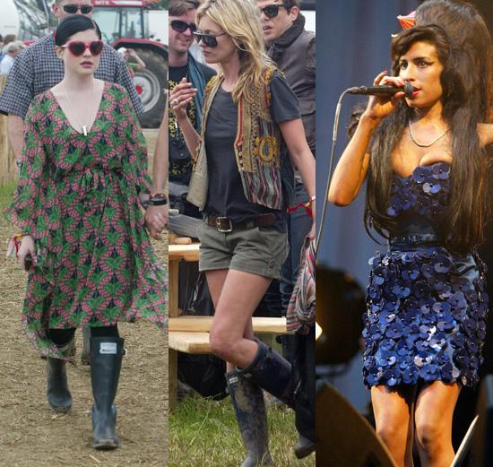 Kelly Osbourne, Kate Moss and Amy Winehouse at Glastonbury 2008