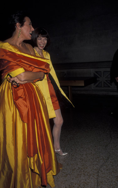 Dec. 1990: Having a laugh with Donna Karan at the Costume Institute Gala.