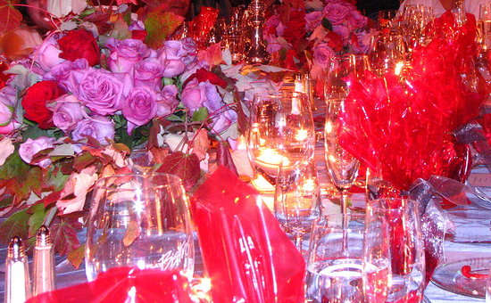 The table overflowed with gorgeous color, flowers and sparkle.