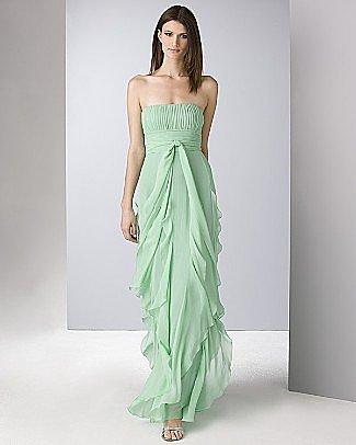 BCBGMAXAZRIA Women's Strapless Flat Silk Chiffon Gown with Ruffled Skirt - Women's - Bloomingdales.com