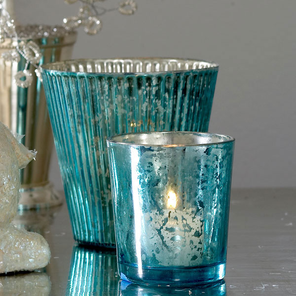 Mercury Glass: Steal Of The Day: Cool Blue Mercury Glass Votive Holders