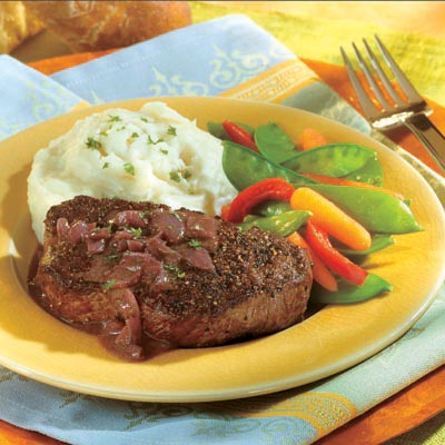 Campbell's Summer Recipes, Peppercorn Seasoned Steaks