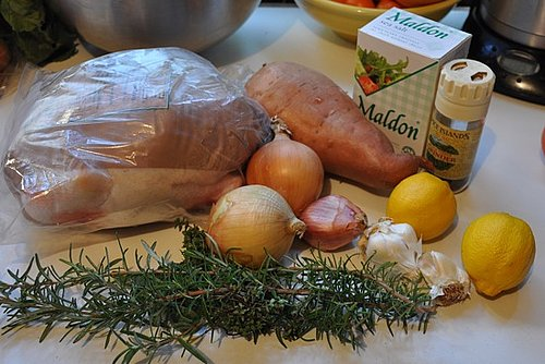 Roast Chicken With Sweet Potato and Onions