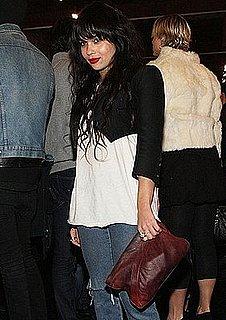 Photo of Zoe Kravitz at New York Fashion Week Wearing a Cropped Alexander Wang Tuxedo Jacket