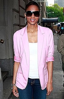 Photo of Singer Ciara in NYC Wearing Pink Blazer