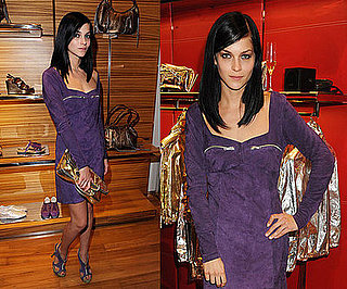 MisShapes Leigh Lezark Attends Hogan & Best Buddies in London Wearing Purple Suede Dress