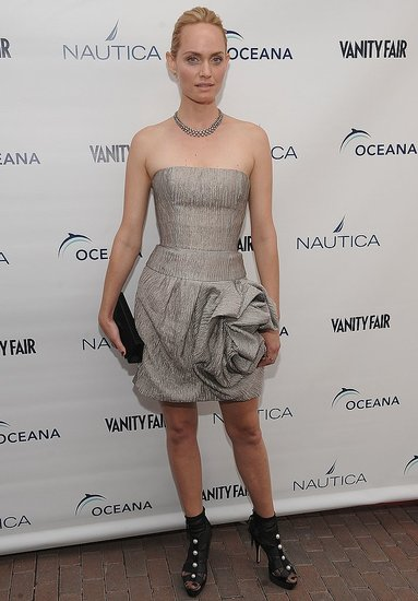 Amber Valletta Attends World Oceans Day in Silver Strapless Oscar de la Renta Origami Dress and Black Peep-toe Booties