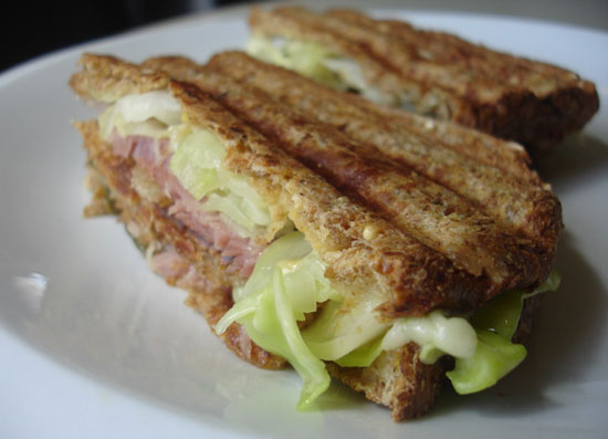 Recipe For Ham and Cabbage Reuben Sandwich
